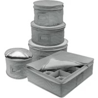 Store and organize cherished dinnerware and fine china with quilted 5 Piece Dining Plates Set. This 5 Piece Dining Plates Set keeps plates and mugs in mint condition and ready to shine for special occasions. Quilted cases shield dust, dirt, and stains - plate cases include felt protectors to prevent each plate from cracks and scratches.