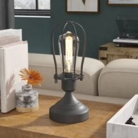 Certainly not just for making your ensemble shine, this 11.5'' table lamp is also an industrial-inspired decor piece! Founded atop a round pedestal base, its frame is crafted from metal. Up top, the single light is an exposed Edison bulb, highlighted by an openwork cage-like shade. To keep this luminary looking sharp, simply wipe it clean with a dry cloth when needed. No assembly required.