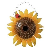 This darling sunflower birdhouse looks very inviting hanging in your garden. Made of metal with a hand-painted antiqued finish.