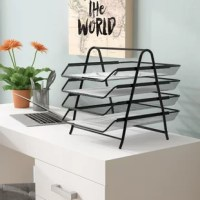 Organize your school supplies and office supplies fast and easy. This black 4 tier supply organizer will help you from the mess of paper work all over your desk or room. The tiers slide in and out for you to have easier access to your supplies.