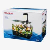 This Radius Desktop Aquarium Kit includes tank, internal cascade filter, LED light and hinge style plastic lid to make setup as easy as possible. This contemporary glass tank features a unique bent design with frameless construction and is made with the highest clarity glass which beautifully reflects the light and colors of the aquarium.