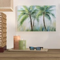 Spruce up an existing decorative display or lend beachy vibes to that empty space over the sofa with this piece of wall art. In soothing hues of green, blue, and brown, it features a few palm trees with an abstract background. Made in the USA, it's printed with giclee on canvas, and individually hand wrapped over a solid wood stretcher for a look worthy of any gallery wall. Plus, it comes ready to hang right out of the box, so you can start styling your space sooner.