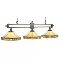 If you're looking for a billiards light that is different than others then your search can stop right here. This pendant features classic Stained glass with a unique filigree overlay that really separates and makes this billiards light stand out from others. Its Stained glass is a light yellow so your game room will be filled with bright light.
