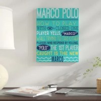 There's nothing better than a day at the pool enjoying classic swimming pool games like Marco Polo, Chicken or Sharks, and Minnows. Add a little competition to your back-yard pool area with this 'Marco Polo Swimming Pool Rules' Textual Art on Canvas. This fun wall art features the rules to the swimming pool game Marco Polo on a turquoise background. Made ready to hang, this wall decor is perfect for your indoor deck or pool house, not suitable for outdoor use. Complete the set with Our 'Sharks...