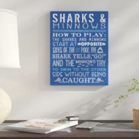 There's nothing better than a day at the pool enjoying classic swimming pool games like Marco Polo, Chicken or Sharks, and Minnows. Made ready to hang, this 'Sharks and Minnows Swimming Pool Rules' Textual Art on Canvas decor is perfect for your indoor deck or pool house, not suitable for outdoor use. Canvas Wall Art enhances your space during any time of the year. Solid and durable canvas is ready for hanging.