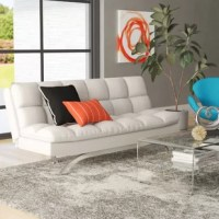 Perfect for the living room, den, or even the home office, this sleek and stylish sleeper sofa lends midcentury modern appeal to any ensemble. Founded on a metal frame, it strikes a futon-shaped silhouette supported by ultramodern metal legs in a gleaming chrome finish. Easy-to-clean bi-cast faux leather upholstery envelops the seat, accented by channel tufting and detailed stitching, while extra-thick padding and foam fill is designed to promote medium-firm cushioning.