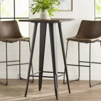 Pub tables are perfect for bar areas, or dining areas short on square footage. Take this table for example, a four-legged metal base, in a neutral powder coated finish that can blend in with most color palettes, you can pair it with your choice of pub chairs or bar stools. Perfect for modern or industrial inspired aesthetics, this square tabletop is constructed from solid elm wood, and measures 41.5'' H x 23.5'' L x 23.5'' W.