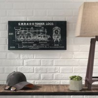 This manufacturer is proud to present 'Train Blueprint III' Graphic Art Print on Canvas. Featuring the blueprint for a G.W.R. 4-6-0 tender locomotive.
