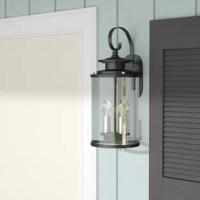Ensure your front porch or back deck is just as charming as the inside of your home with this two-light outdoor wall lantern, suitable for wet locations. Crafted of steel, this fixture features a pair of lights encased within a cylindrical glass shade. A curlicue hooks up above contributes to its classic character, while contrasting metallic accents along the sides offer a dash of drama.