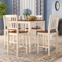 An ideal spot to serve up Sunday morning brunch or gather the kids around for a casual dinner, this five-piece counter height dining set is a breakfast nook essential. Crafted from rubberwood, each piece is founded atop four gently tapered legs with neutral solid finishes. The table measures 36