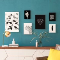 Putting together a gallery wall? Instead of starting from scratch, outfit any open wall with this collection of six graphic art prints. Proudly made in the USA, this set includes six paper prints showcasing a Socrates quote, a city skyline, a feather, an abstract silhouette, a diamond motif, and a geometric pattern. Though each design showcases a different image, a crisp black and white color palette gives them a cohesive contemporary feel. These unframed pieces arrive rolled in a tube.
