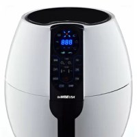The air fryer allows you to enjoy your favorite fried snacks and food without the added calories. Rapid air circulation technology cooks food by circulating hot air in all directions, ensuring fast and even cooking. With a temperature range of 170°F - 400°F, the fryer allows you to prepare a variety of dishes from crispy fries to juicy wings with little to no oil, and in 30 minutes or less. This air fryer is designed to automatically turn off when the basket is removed from the air fryer or...