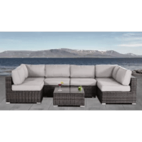 This 7-piece patio set is practically made for parties. The L-shaped sectional sofa is centered around a glass-topped coffee table, giving all your guests easy access to both conversation and refreshments no matter where they sit. It's all handwoven from weather-resistant wicker on top of rust-proof aluminum frames. The cushions are filled with thick foam and upholstered in marine-grade olefin fabric that'll hold up all season long. This outdoor conversation set comes fully assembled, backed by...