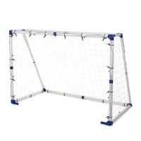 Featuring the depth of a professional-style soccer goal/cage, Goal for It! 3-in-1 Trainer Goal Soccer Equipment combines three ways to play—and practice—into one! Kids can use it as a goal/cage or easily switch out the panels to practice rebounder or target shots. It makes for fantastic outdoor active play and encourages kids to hone some of the most important soccer skills. Sturdy plastic stakes hold their ground against even the most determined play