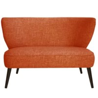 The perfect introduction to the mid-century style, this loveseat is satisfyingly simple in a sleek armless silhouette. Features a curved backrest and comfortably cushioned seat, graciously finished with slim angled legs and hand-upholstered in a choice of room-defining fabrics.