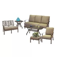 Elegant best describes this beautiful six piece deep seating set. The accent tables with their unique scroll work are the perfect compliment to enhance your outdoor space. Seating comes with thick seat and back cushions for total relaxation. Frames are cast aluminum.
