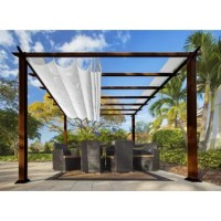 Creating a relaxing yet stylish outdoor space, the Paragon-Outdoor 11 ft. x 11 ft. Aluminum Pergola was elegantly crafted for a sophisticated oasis. It offers privacy and optimal shade from the harsh sun rays—simply slide the convertible top back and forth to suit your comfort level. This Structure has a uniquely-treated powder coated frame that is maintenance-free and rust-free; replacing simple wood structures that normally rot, crack or weather over time. This Pergola can be used for all...