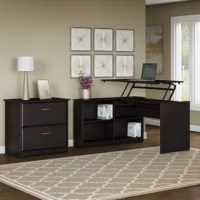 Save space, get organized and work comfortably in your home office with this 2 Piece L-Shaped Desk Office Suite. The desktop holds up to 20 pounds when at the standing height so you can bring materials with you when you need to stretch your legs. Spacious shelves adjust to fit items of varying sizes to keep everything you need within reach.