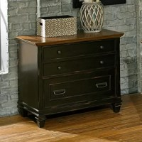 The collection combines bold lines with a weathered, vintage finish and classic style elements. The warm, hand-applied two-toned rubbed black finish gives the relaxed feel of old world wood, while wire mesh details add a formal element. The collection will be right at home in either a classic formal setting or a relaxed, eclectic home. The lateral file includes a locking letter-legal file drawer and ball bearing glide.