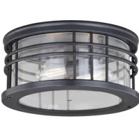 This outdoor flush mount, where traditional, mission and modern elements meet. Enhance the exterior of your home with this Outdoor 2-Light Flush Mount. Clean lines create an entreating style that adds interest to your exterior spaces.