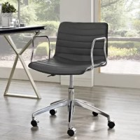 Perhaps more essential to the home office than the writing desk is the chair – the perfect one keeps you comfortable whether you're working through the day or simply sit down to pen a note to a friend. This design features a polished aluminum base fitted with caster wheels, so you can glide to and from the printer with ease, while an ergonomic seat back wrapped in faux leather sports channel tufting for both style and comfort.