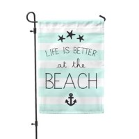 It's a new season. A perfect opportunity to do something new and bold, something beautiful. Make your yard and home beautiful with this festive Life Is Better At The Beach 2-Sided Polyester 1'6x1 Garden Flag from Second East. It is printed on premium polyester material designed for outdoor display that will be lasting decoration for your home.