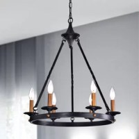 This stunning chandelier features an old world design with six candelabra style lights and metal construction. The circular base is highlighted with brass nail heads and coated in an antique black finish for a dramatic look. It is suspended from 3 twisted rods with an additional adjustable 40-inch ceiling chain to make a bold statement in your dining room, living room or entryways.