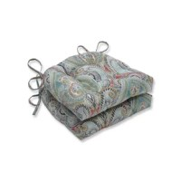 This bold and beautiful set of two paisley outdoor tufted chair pads creates a sophisticated and worldly look. Rich hues of coral, turquoise, green, yellow and gray infuse this large-scale outdoor print emphasizing every detail. With the addition of one or two outdoor throw pillows, these beautiful outdoor chair pads will instantly brighten and update your outdoor patio decor. Additional features of these outdoor tufted chair pads include 14