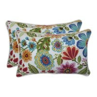 This bright, bold updated flower garden print on these Chamberlin Indoor/Outdoor Lumbar Pillow will bring a fresh new look to your outdoor patio décor. Inspired by a painterly Scandinavian print the delightful flora dances across the fabric. Additional features of these lumbar pillows include a beautiful two-color contrast cord and recycled polyester fiberfill with a sewn seam closure. Suitable for indoor and outdoor use.