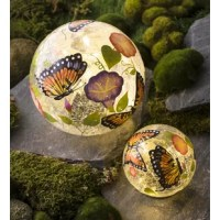 The Butterfly Crackle Glass Solar 2 Piece Gazing Globe Set will make your garden glow. Day or night, you're going to love these charming accents that are perfect for the garden, flower bed, patio, porch and more. The colorful, hand-painted designs echo the beauty of your garden by day; at dusk, solar-powered string lights make them shine from within for a pleasant glow. Set of 2 includes one each large and small of the same design.