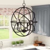 Cast a warm and welcoming glow in the entryway or illuminate your kitchen island with this posh chandelier. Crafted from metal, its frame features an openwork atom-inspired silhouette finished in neutral oil rubbed bronze. Inside, four candelabra-inspired lights are exposed to create even ambience throughout your ensemble. Measures 86'' H x 16'' W x 16'' D overall. Assembly and installation are required for this hardwired luminary. Bulbs are not included.