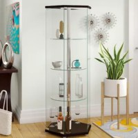 Display sculptures, awards, and collected knickknacks and mementos with pride in this sleek and chic curio cabinet! Crafted of solid and manufactured wood in a glossy finish, the frame features a hexagonal top and base connected by a thick metal center pole. Three circular glass shelves line the pole, perfect for displaying fine china, to barware, sculptures, photos and more, while seven tall panes of clear glass and one tall clear glass door protect your collection while offering sight-lines...