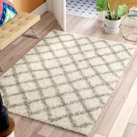 Showcasing a diamond trellis motif in neutral hues, this Brant Ivory Area Rug offers up a pop of pattern without overwhelming your existing arrangement. This shag design has a long height for a tastefully textured look. Wherever you decide to roll it out, we recommend you pair this piece with a rug pad to help it stay put.