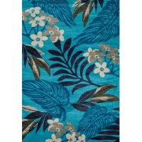 Aqua is the background for a tropical paradise of palms and colorful florals. Medium weight heat set construction assures comfort and durability. Please spot clean only and professionally clean when required.
