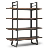 This Bookcase is perfect for bringing storage space and style to your home. Showcasing 4 solid wood slated shelves, a sturdy u-shaped metal frame, and industrial, contemporary design. Perfect for displaying your favorite books or décor pieces, this design is a must-have for your home.