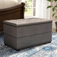 Whether welcoming guests in the foyer, or placed at the foot of the bed in the master suite, this upholstered storage bench lends sophisticated appeal to any space. Measuring 18