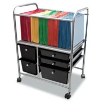 This five-drawer organizer includes three different size drawers to fit all your needs! Holds either letter or legal-size files. Four swivel casters for easy mobility, two lockings. High-tech metallic rails and knobs add style to the appearance.