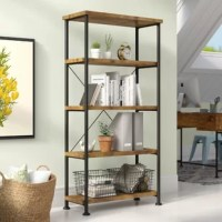 Bring curated industrial style to your space with this etagere bookcase! Crafted of wood in a matte black finish, this bookcase's frame features four tubular posts complete with a slender cross back and four round feet. Sporting a rich antique nutmeg stain, four shelves provide perfect platforms for displaying framed photos, collected curios, and rows of your favorite reads. Measuring 63