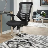 Cruise through daily tasks with this La Mott Ergonomic Mesh Drafting Chair. This sturdy office chair features height-adjustable armrests, a breathable mesh back with passive lumbar support, dense foam padded waterfall seat covered in mesh, full 360° swivel, and five dual-wheel casters for natural movement over either carpeted or hardwood surfaces. Experience productivity without compromising on comfort with this user-friendly work companion.