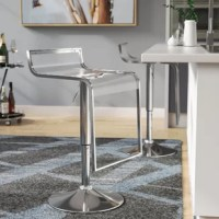 Bring ultracontemporary styling to any pub table or kitchen island with this adjustable height swivel bar stool. Framed in steel in a gleaming silver finish, the molded transparent acrylic seat features a super-low back, a curved waterfall edge, and an integrated foot rest. The pedestal frame features a lever-operated pneumatic lift column to adjust the seat height to accommodate different counter or table heights, while a 360° swivel mechanism lets you glide from conversation to conversation...