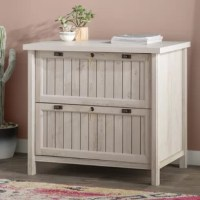 If it's time to start clearing away memo mess and getting organized, that doesn't mean you have to sacrifice your home's style! Perfect for a rustic-inspired touch in your home, this piece is crafted in the USA from manufactured wood, and features a weathered finish and beadboard accents on the doors. And since both drawers feature locks, this piece is great for keeping private files kept away. Measures 30'' H x 33.39'' W x 21.89'' D.