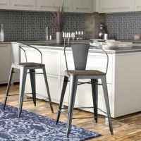 Take this bar stool for example: perfectly suited for your home's contemporary or industrial aesthetic. It features a low back, built-in footrest, and square seat. The frame of this bar stool is crafted from metal, with a manufactured wood seat. Arriving in a set of two, this bar stool requires assembly upon arrival.