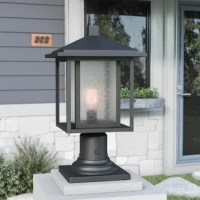 Ensure your alfresco arrangement is inviting even after dark with this one-light pier mount. Crafted from aluminum and designed specifically for wet spaces, this clean-lined design strikes a boxy silhouette with a tapered hood for architectural appeal. Its shade is comprised of clear seeded glass panels to let light from a single 100 W medium-base bulb (not included) pass through. The manufacturer backs this product with a one-year warranty. Post mount sold separately.
