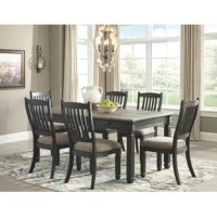 Our favorite way to set up a dining room? Using a set like this 7-piece dining room set to get a cohesive look all at once! The table is crafted from solid wood, and features three built-in drawers that allow you to keep spare silverware and other dinnertime clutter on hand. The six chairs are also from solid wood, and feature a curving back with four splats for little extra support. Plus, each seat is upholstered with a polyester blend fabric for a welcoming feel during dinner. Two-tone...