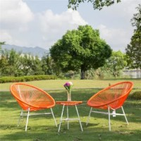 This furniture set is very useful. It is made of durable plastic string and iron frame, which makes it sturdy and can serve you for a long time. You do not need to worry that they will be wet. Its coffee table with a glass top is also very practical. You can put your cups, fruit plates and other things on it while you are sitting on the soft chairs, enjoying your wonderful life.
