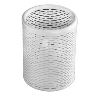This Punched Metal Pencil Cup is a convenient way to keep your pens, pencils, markers and your office accessories organized and close at hand. The high-quality black punched metal with reinforced rounded edges make it structurally durable and attractive in any office décor.