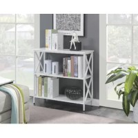Books, movies, accent pieces, you name it – this bookcase is here to display your favorites while anchoring your home with a touch of contemporary style. Crafted from a powder-coated metal frame, it showcases X-shaped accents on the sides while the three tiers of shelving made from particleboard keep your favorite pieces displayed and organized. Some assembly is required, so we suggest having your screwdriver ready and a helpful hand to assist you.
