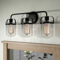 Featuring clear glass shades, this three-light fixture brightens up your abode and provides proper task-lighting. Its steel circular backplate and curved arms bring the charm of a modern farmhouse to your aesthetic. It offers style and versatility above any mirror. Incandescent or LED light bulb compatible (not included).