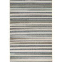 This Blue/Cream Indoor/Outdoor Area Rug combines modern elegance with exceptional durability and fits perfectly in high traffic areas from entryways to patios.