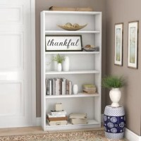 Looking for a budget-friendly bookcase that does its job without stealing the spotlight? Look no further. Crafted from manufactured wood, this bookcase stands six-feet-tall and three-feet-wide with a clean-lined, modest silhouette. For storage, this piece features three adjustable shelves, each an inch thick, along with a top and bottom shelf. An elevated bottom shelf and base rail finish out the design with subtle flair. Plus, wall-attachment hardware is included, making it a safe pick for...
